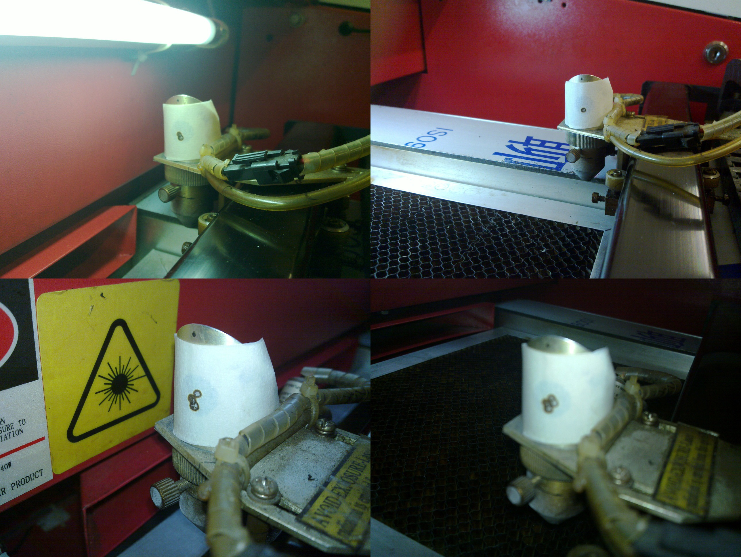 Laser Alignment Test Shots - One shot taken in each corner of the laser bed.