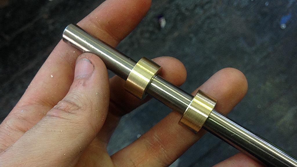 Brass parted off and test fitted to rod
