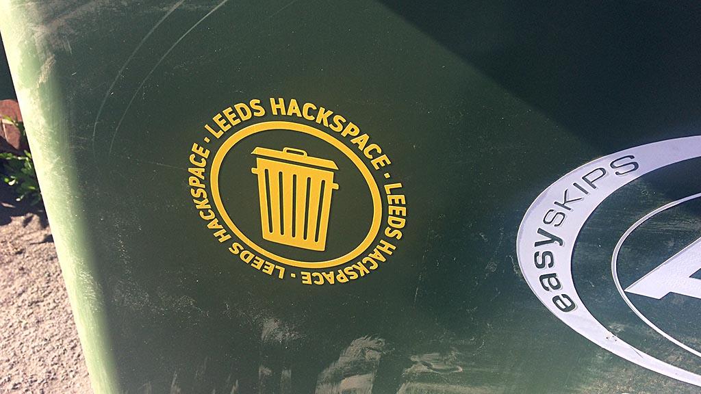 Leeds Hackspace Sticker on General Waste bin